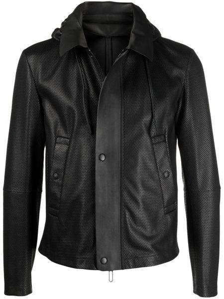 Кожаная куртка с капюшоном - черная Emporio Armani