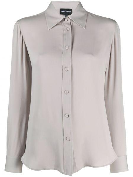 Шелковая с рукавами рубашка круглая Giorgio Armani
