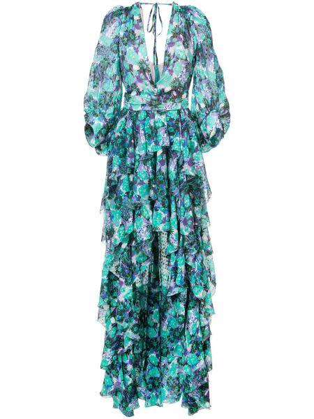 Зеленое асимметричное шелковое платье Emanuel Ungaro