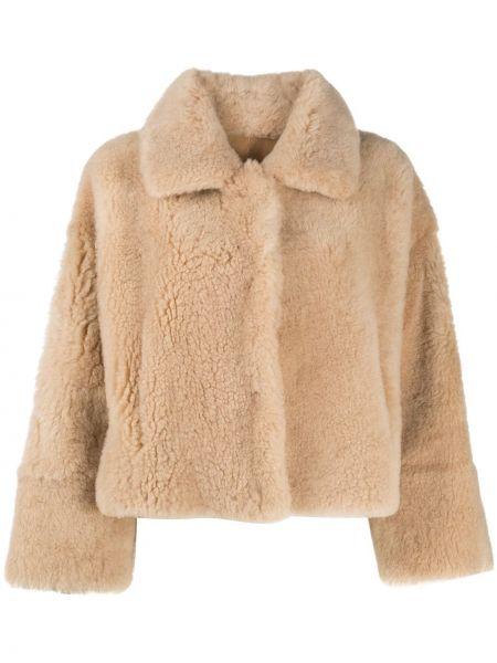 Бежевая кожаная длинная куртка двусторонняя Manzoni 24