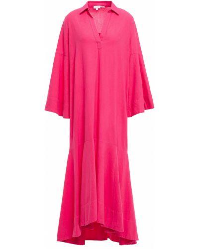 Różowa sukienka midi asymetryczna bawełniana Rhode