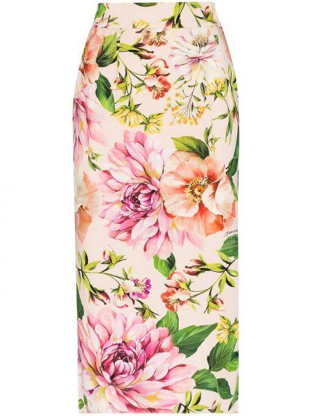 Прямая розовая юбка миди на молнии в рубчик Dolce & Gabbana