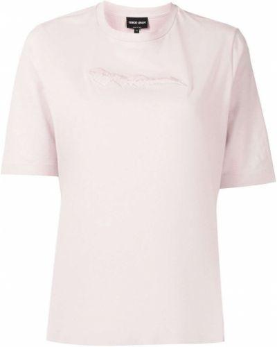 Розовая футболка с круглым вырезом Giorgio Armani