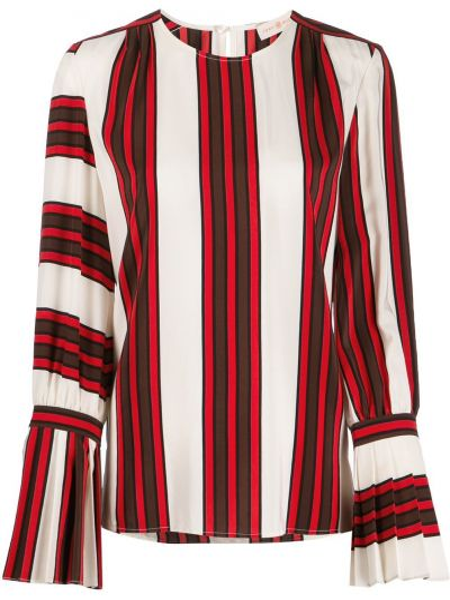 Блузка с длинным рукавом в полоску с расклешенными рукавами Tory Burch