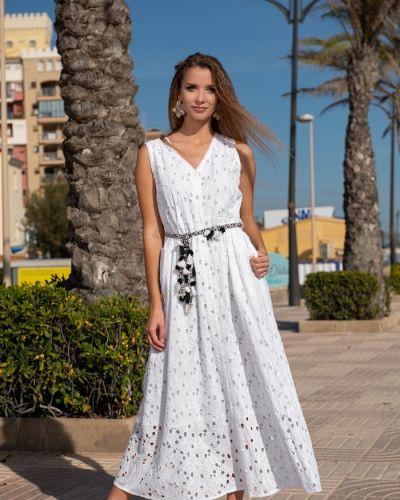 Пляжное белое платье макси без рукавов Fresh Cotton