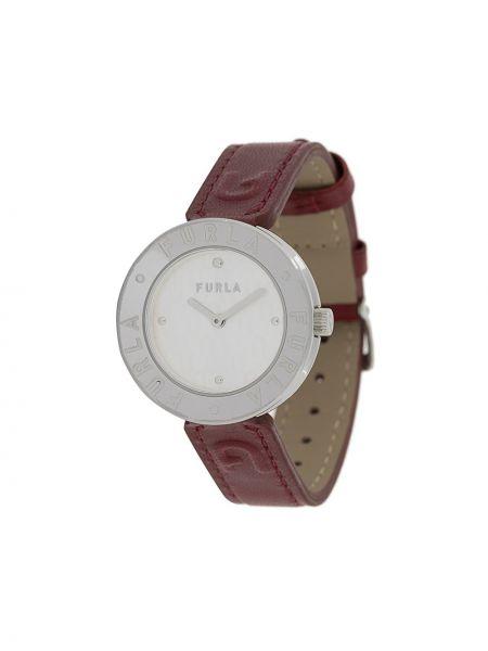 Szary zegarek na skórzanym pasku skórzany Furla