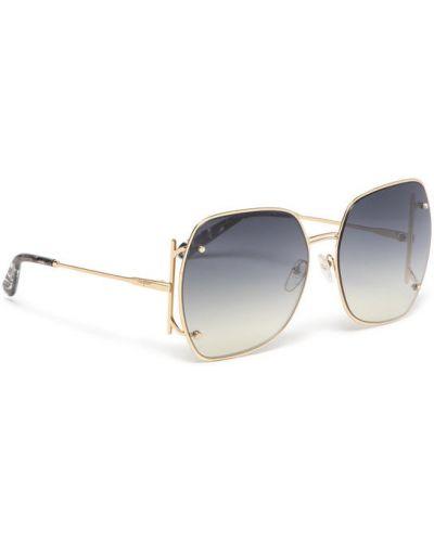 Złote okulary Salvatore Ferragamo