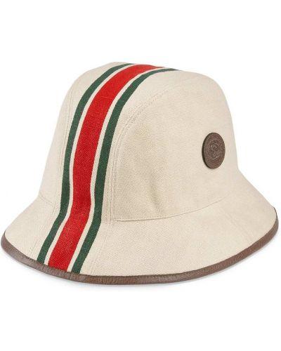 Biały kapelusz skórzany Gucci