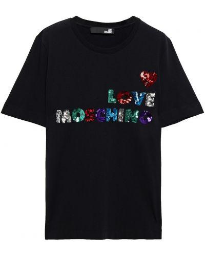 Хлопковая черная футболка с пайетками Love Moschino