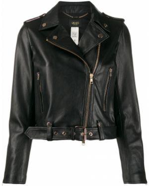 Кожаная куртка черная длинная Liu Jo
