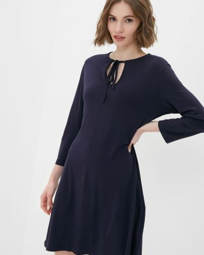 Прямое синее платье А-силуэта Zabaione