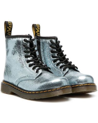 Синие ботинки на шнуровке Dr. Martens Kids