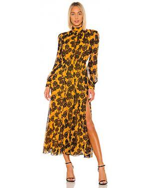 Вечернее платье на пуговицах с отложным воротником Saloni