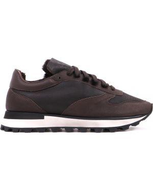 Коричневые кожаные комбинированные кроссовки на шнуровке Stokton
