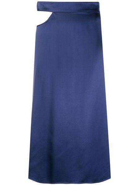 Шелковая прямая синяя юбка миди в рубчик Beau Souci