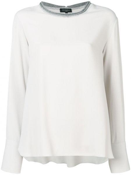 Блузка с длинным рукавом серая с разрезом Antonelli