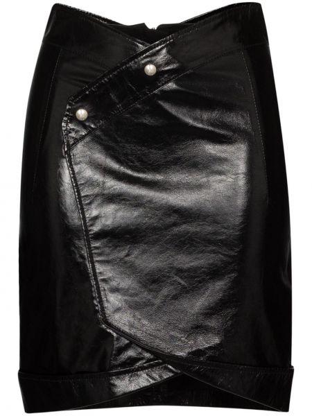 Кожаная юбка мини - черная Rta