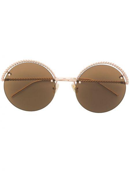 Солнцезащитные очки круглые металлические хаки Boucheron Eyewear