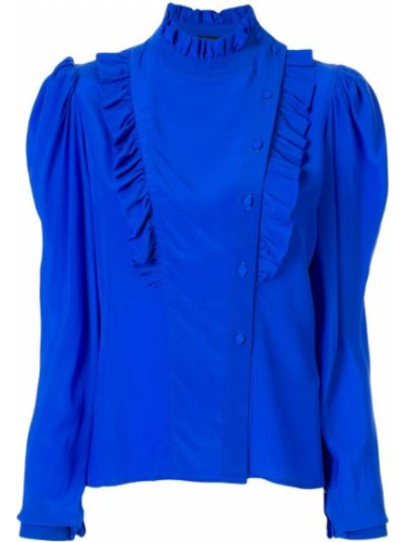 Блузка с длинным рукавом в полоску с рюшами Anna October