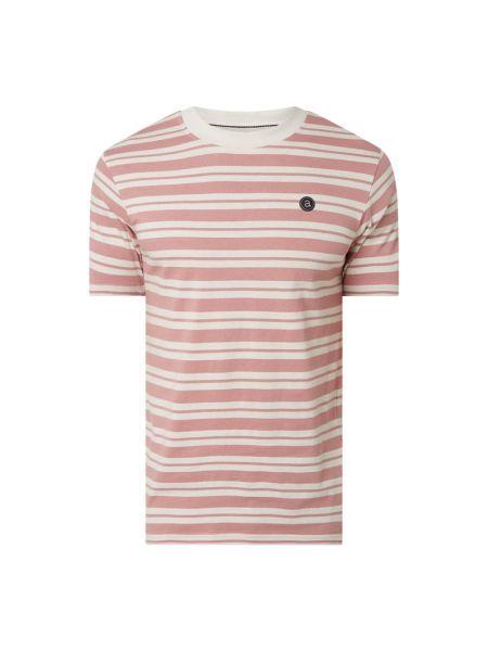Różowy t-shirt bawełniany w paski Anerkjendt
