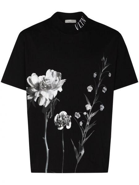 Прямая черная футболка с воротником Valentino