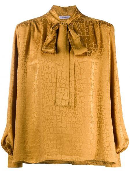 С рукавами шелковая блузка с длинным рукавом золотая на пуговицах Anine Bing