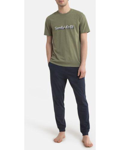 Синяя хлопковая пижама с брюками с короткими рукавами Laredoute
