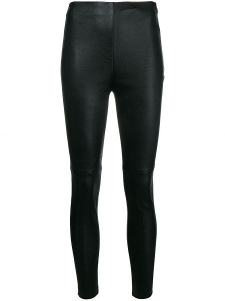 Ватные черные кожаные брюки дудочки Iro