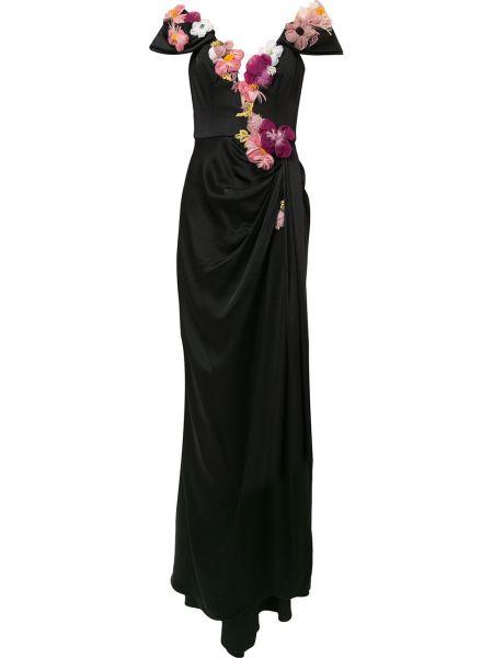 Черное плиссированное вечернее платье с оборками из вискозы Marchesa