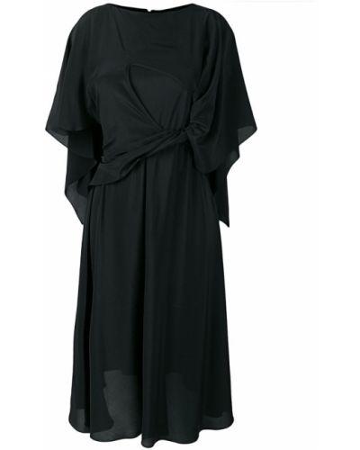 Платье миди с короткими рукавами - черное Chalayan