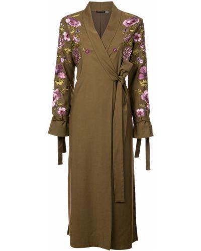 Длинное пальто с капюшоном с вышивкой Josie Natori