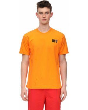 Prążkowany pomarańczowy t-shirt bawełniany Ufu - Used Future