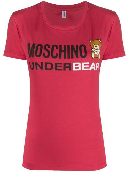 T-shirt bawełniany krótki rękaw z printem Moschino Underwear