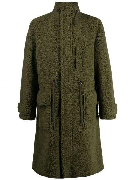 Армейское с кулиской зеленое пальто с карманами Stand