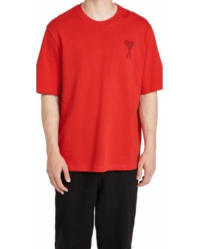 T-shirt bawełniana z haftem krótki rękaw Ami