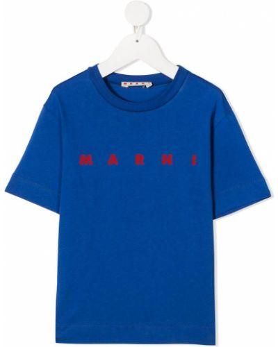 Хлопковая синяя прямая футболка с круглым вырезом Marni Kids