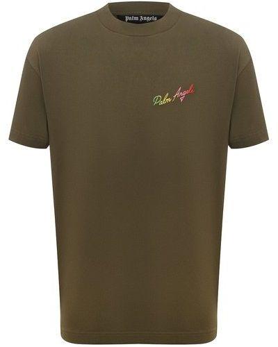 Хлопковая зеленая футболка Palm Angels