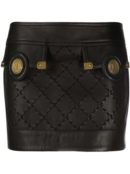 Skórzany prosto czarny spódnica mini Balmain