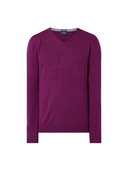 Fioletowy z kaszmiru sweter z dekoltem w serek Christian Berg Men