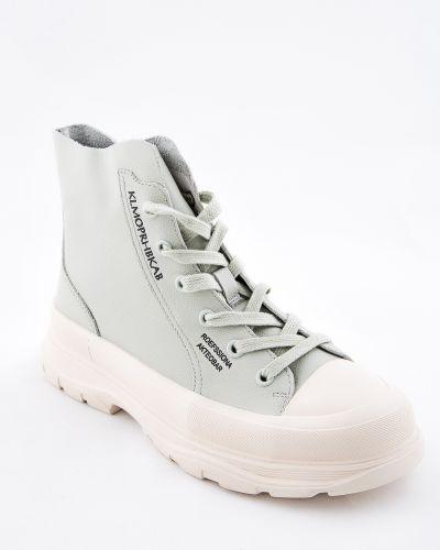 Зеленые кожаные ботинки Sidestep