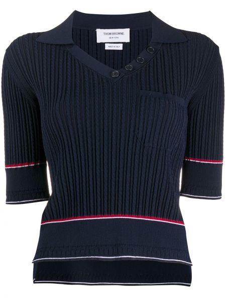 Klasyczny ciemnoniebieski koszulka polo krótkie rękawy z wiskozy Thom Browne