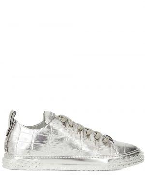 Ażurowy skórzany srebro sneakersy z łatami Giuseppe Zanotti
