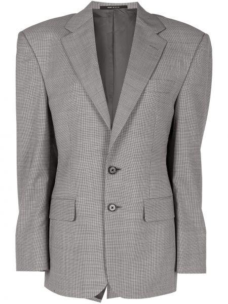Шерстяной черный удлиненный пиджак с карманами R13