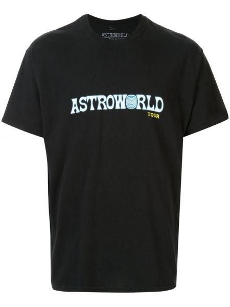 Футболка с вырезом - черная Travis Scott Astroworld
