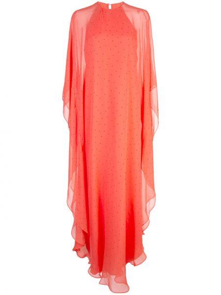 Красное шелковое платье с оборками с драпировкой Michelle Mason