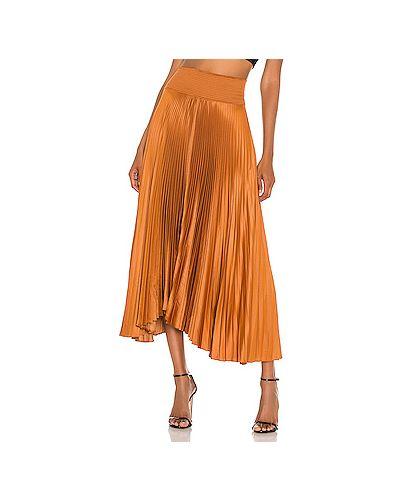Оранжевая сатиновая асимметричная плиссированная юбка на резинке Alc