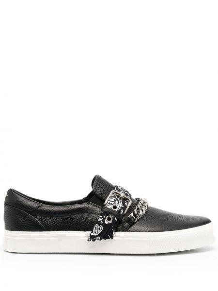 Czarne loafers skorzane klamry Amiri