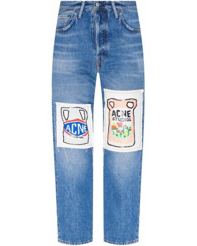 Прямые джинсы с аппликацией с эффектом потертости Acne Studios
