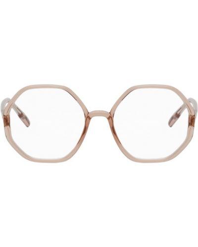 Кожаные розовые очки для зрения с тиснением Dior