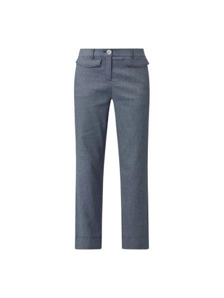 Niebieskie spodnie bawełniane zapinane na guziki Comma